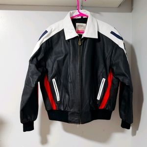 Michael Hoban Where MI USA Flag Leather Jacket L